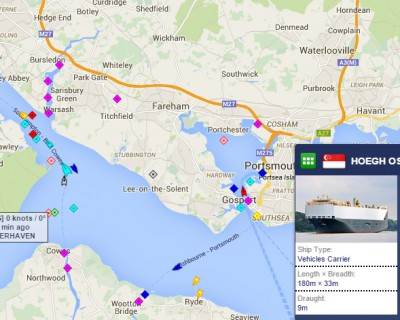 Hoegh Osaka – Car carrier goes aground in the Solent