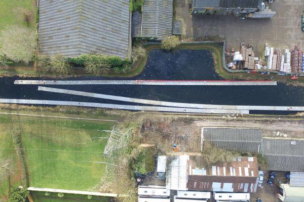 Drone image of pontoon