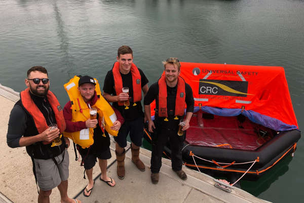 Liferaft Challenge in Lymington Marina