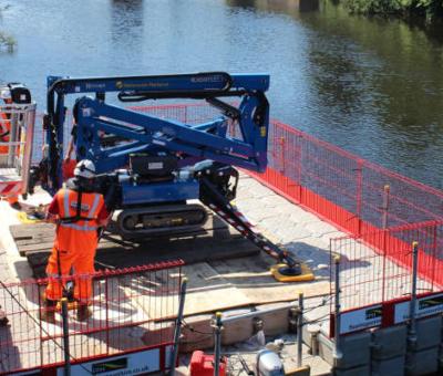 machinery on pontoon